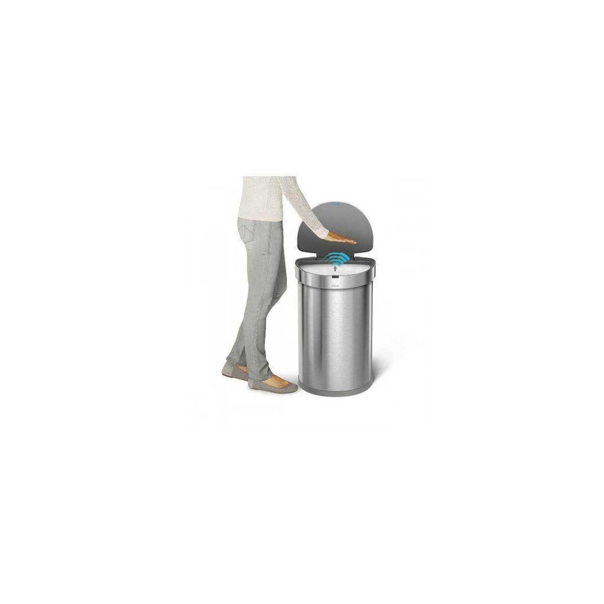 Урна полукруглая сенсорная 45л FPP с карманом для мешков (ST 2009) ST 2009 Simplehuman