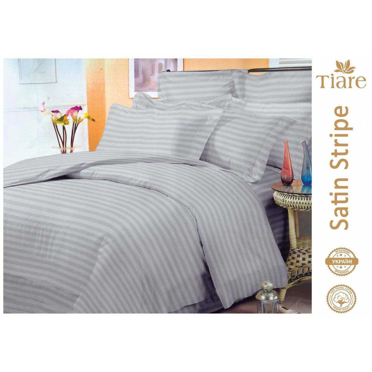 Комплект постельного белья Satin Stripe Gray-56 Gray-56