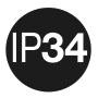 IP 34: защита от проникновения посторонних предметов диаметром ≥ 2,5 мм; защита от водяных брызг.